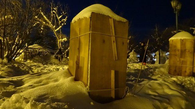 雪灯篭の制作過程